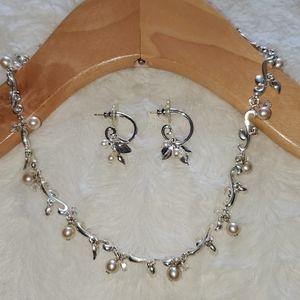 Carolee Silver Pearl Necklace & Earrings Set NWOT